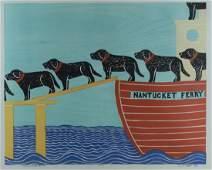Stephen Huneck, woodblock print