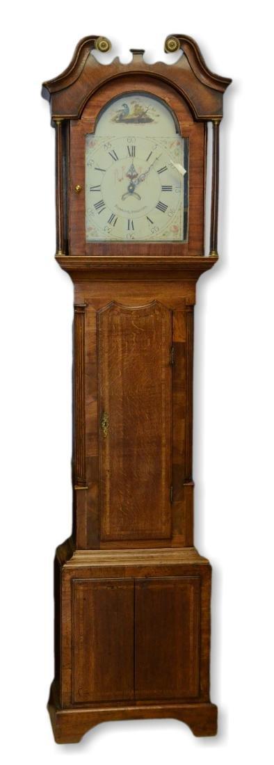 English mahogany and oak 30 hour tall case clock