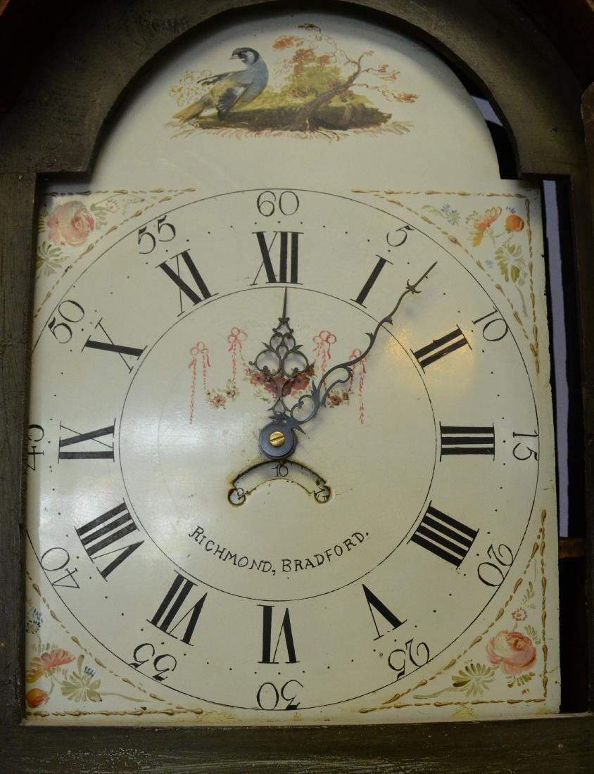 English mahogany and oak 30 hour tall case clock - 2