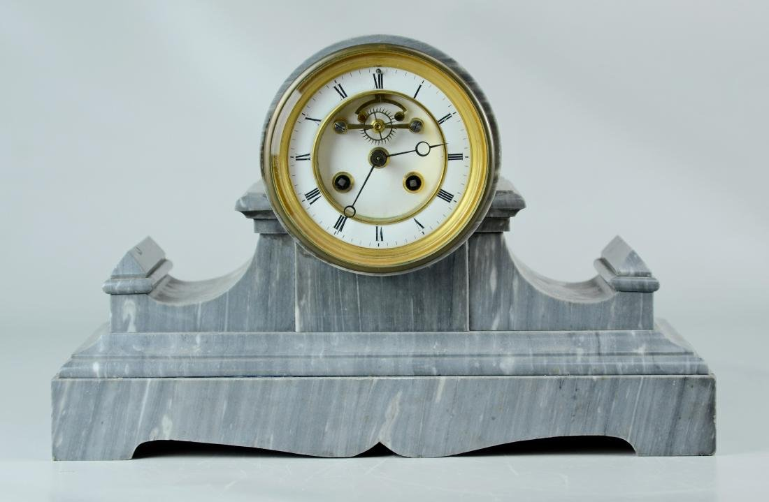 Antique French gray marble clock, Samuel Marti