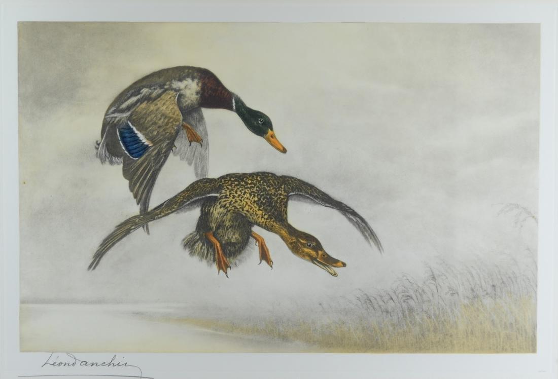 Leon Danchin, etching of two ducks