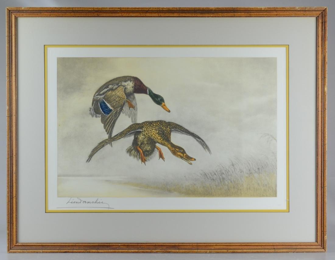 Leon Danchin, etching of two ducks - 2