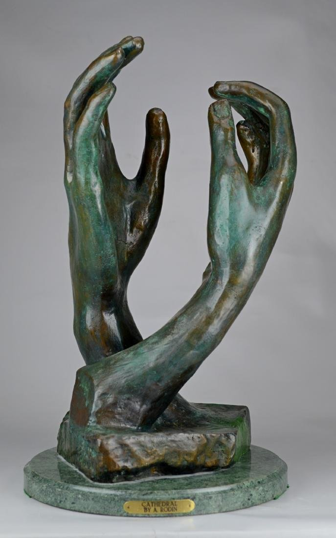 """After Auguste Rodin, bronze sculpture, """"Cathedral"""""""