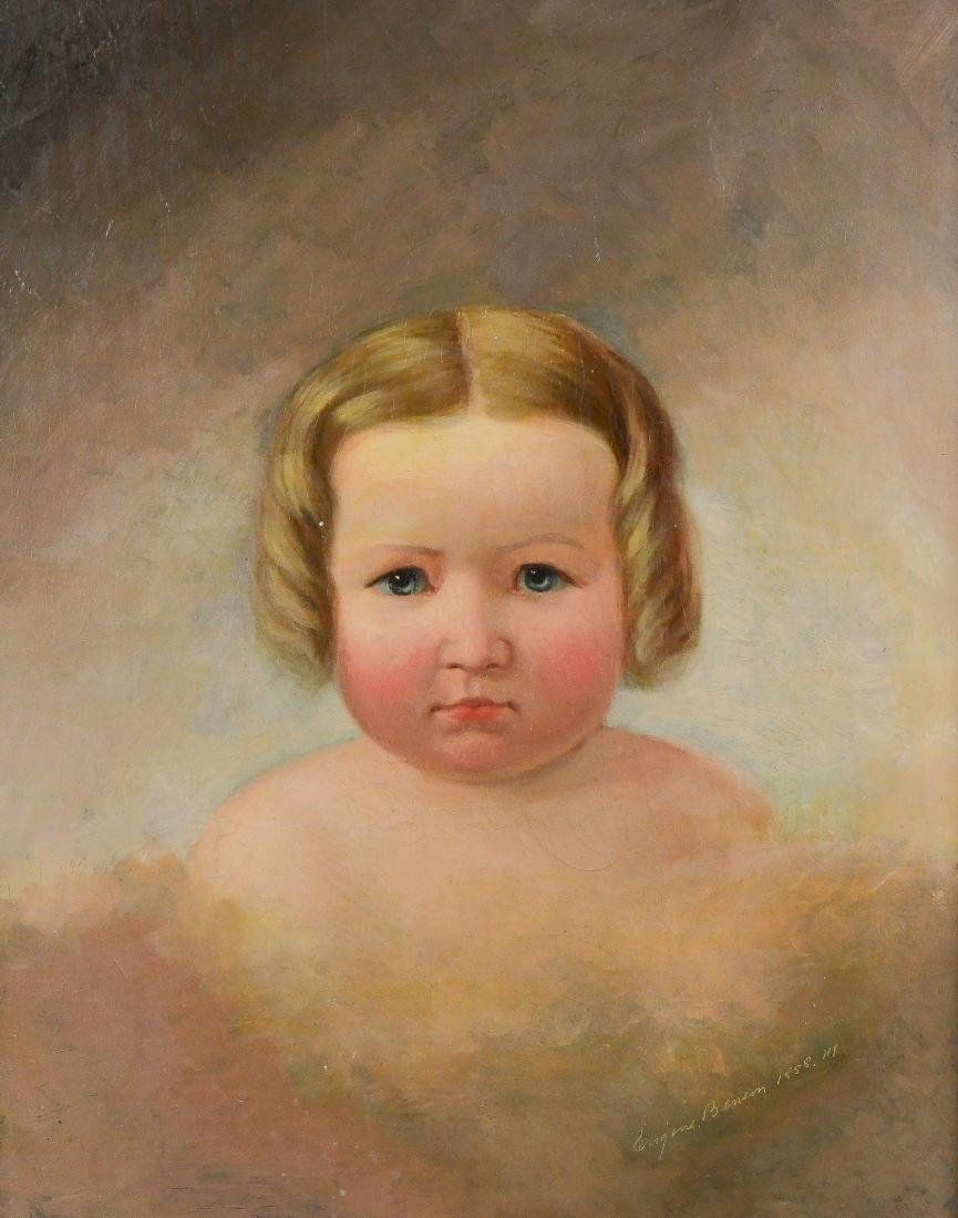19th C American Portrait Painting of a Young girl