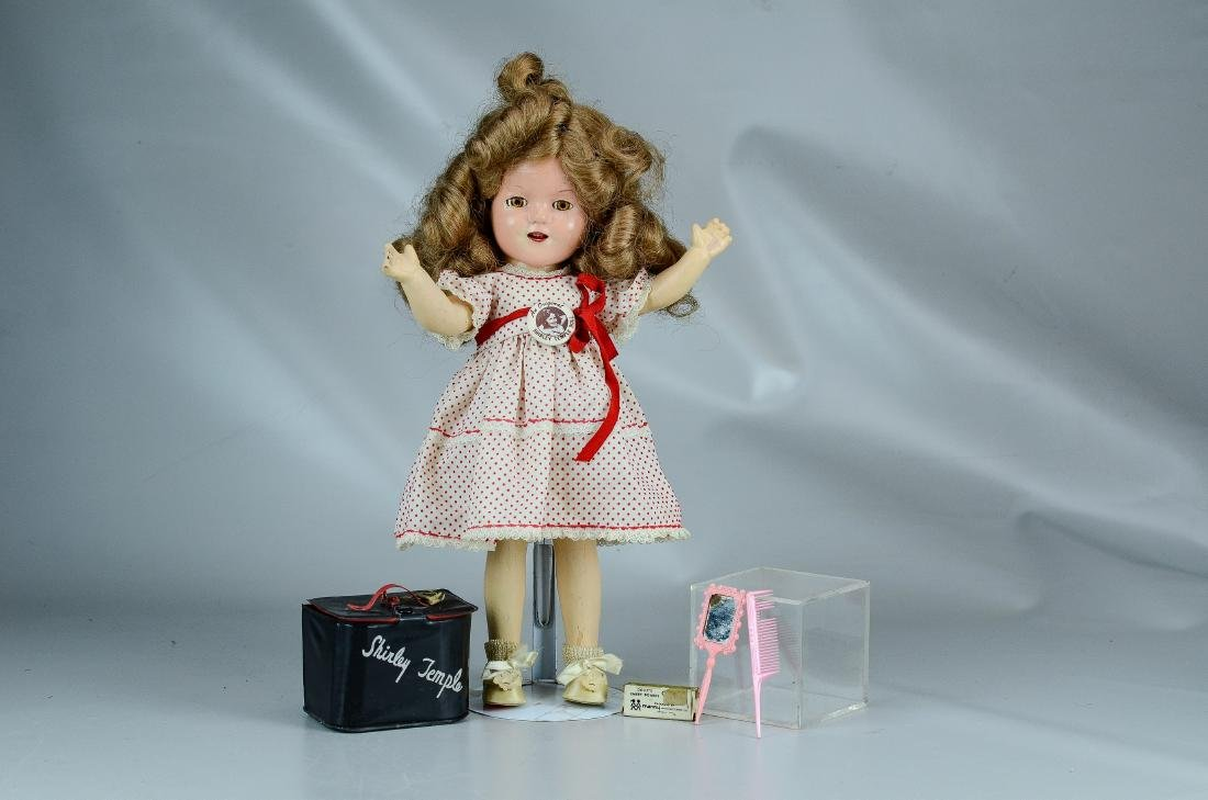 Ideal composition Shirley Temple doll & purse