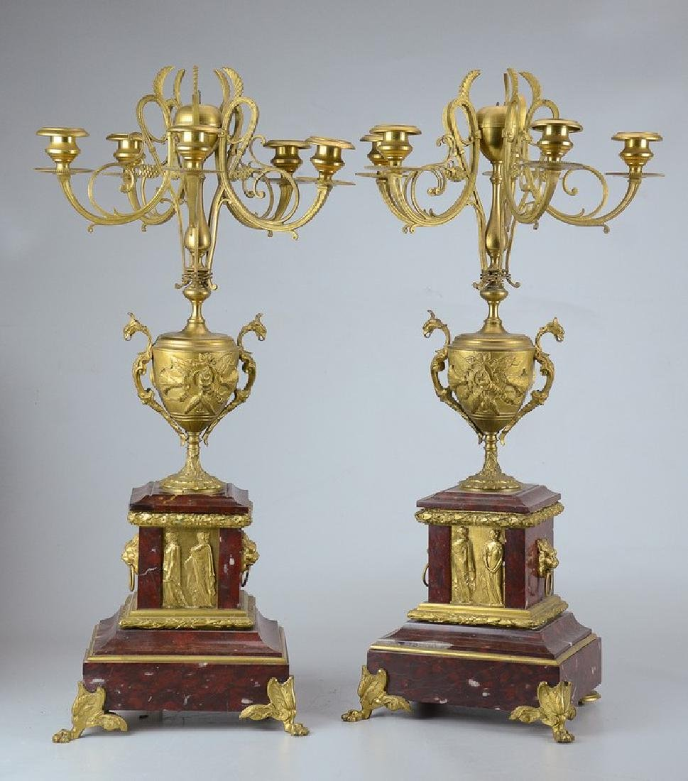 Pr 19th C French gilt brass urn form candelabra