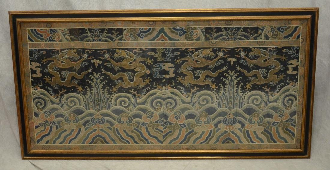 """Large 73"""" x 35"""" framed Chinese tapestry"""