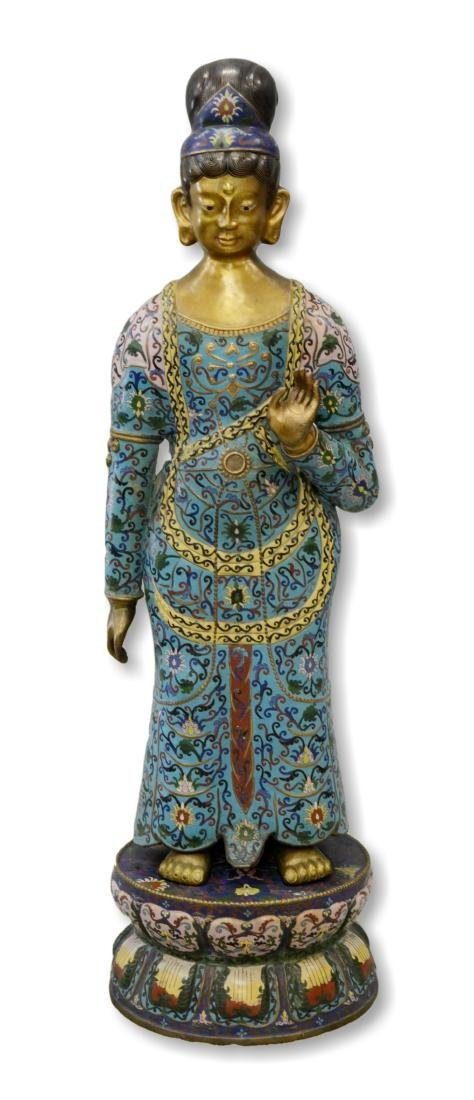 Chinese cloisonne figure of goddess