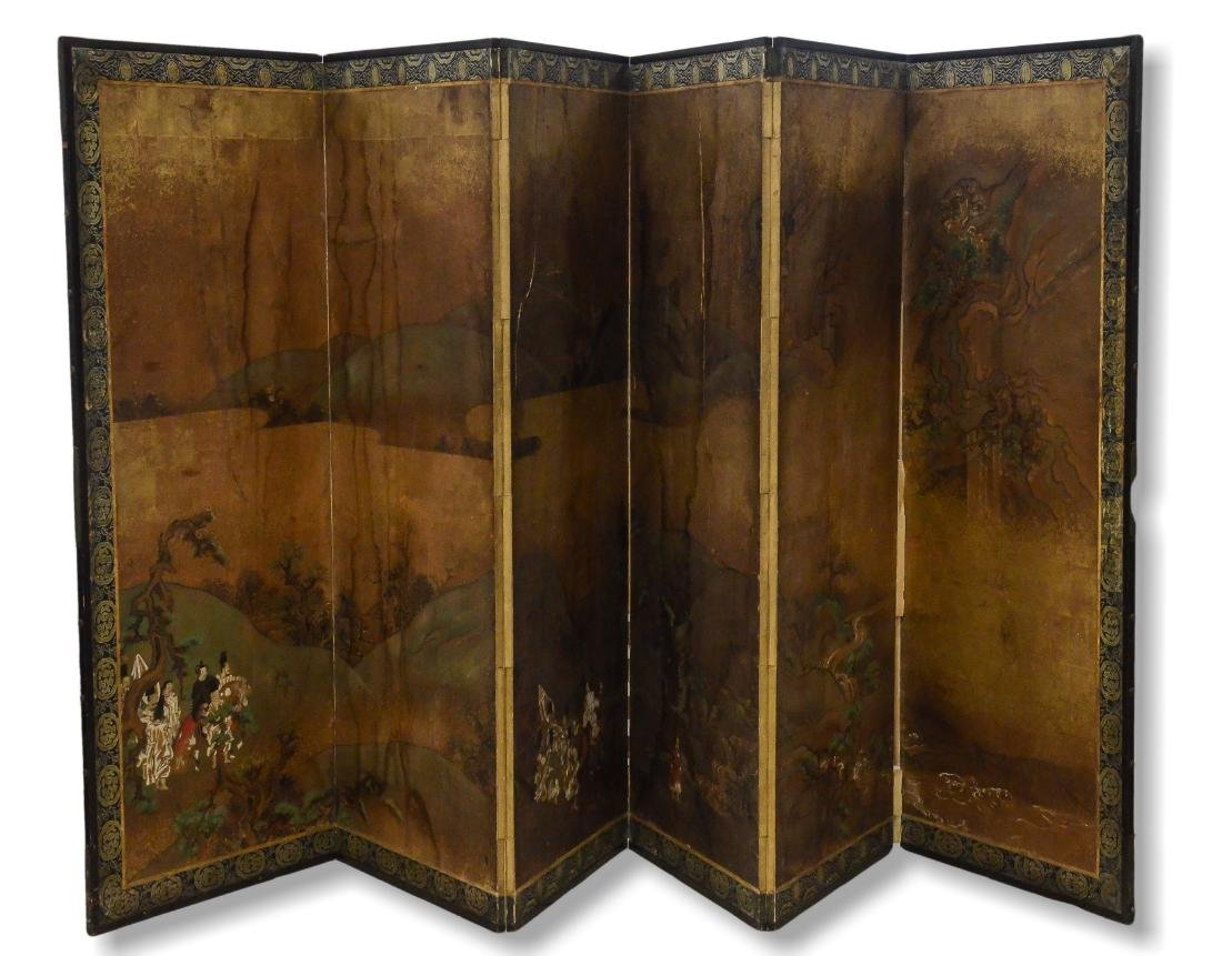Antique Hand Painted Chinese Six Section Screen