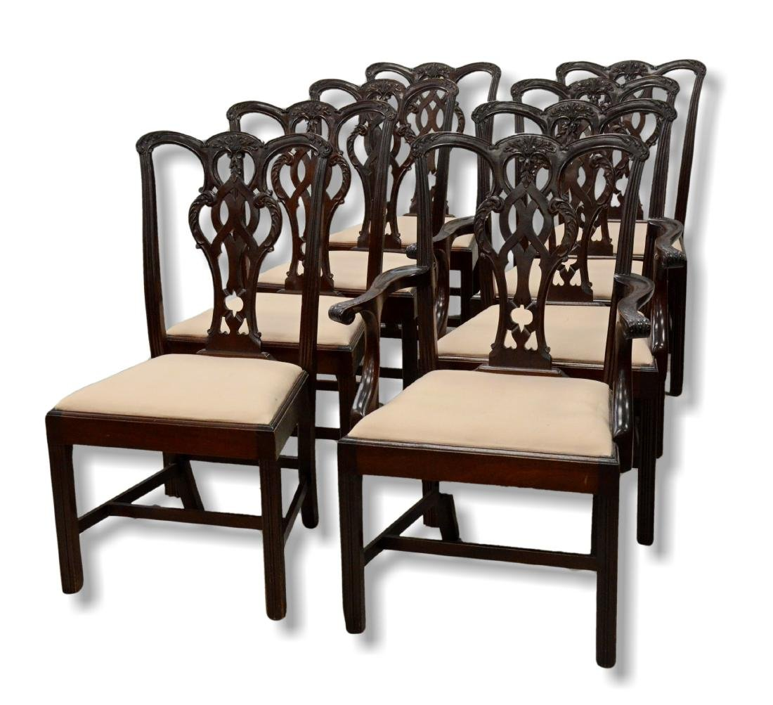 8 Chippendale style mahogany dining room chairs