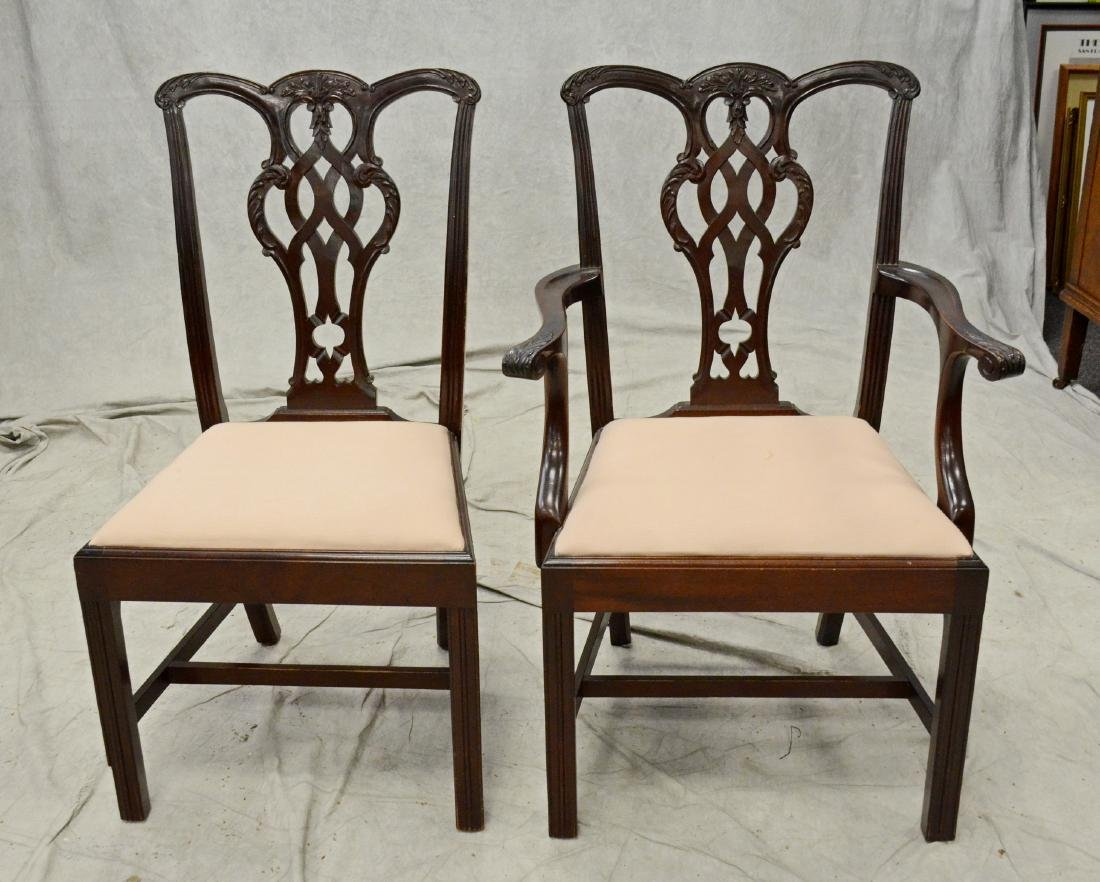 8 Chippendale style mahogany dining room chairs - 2