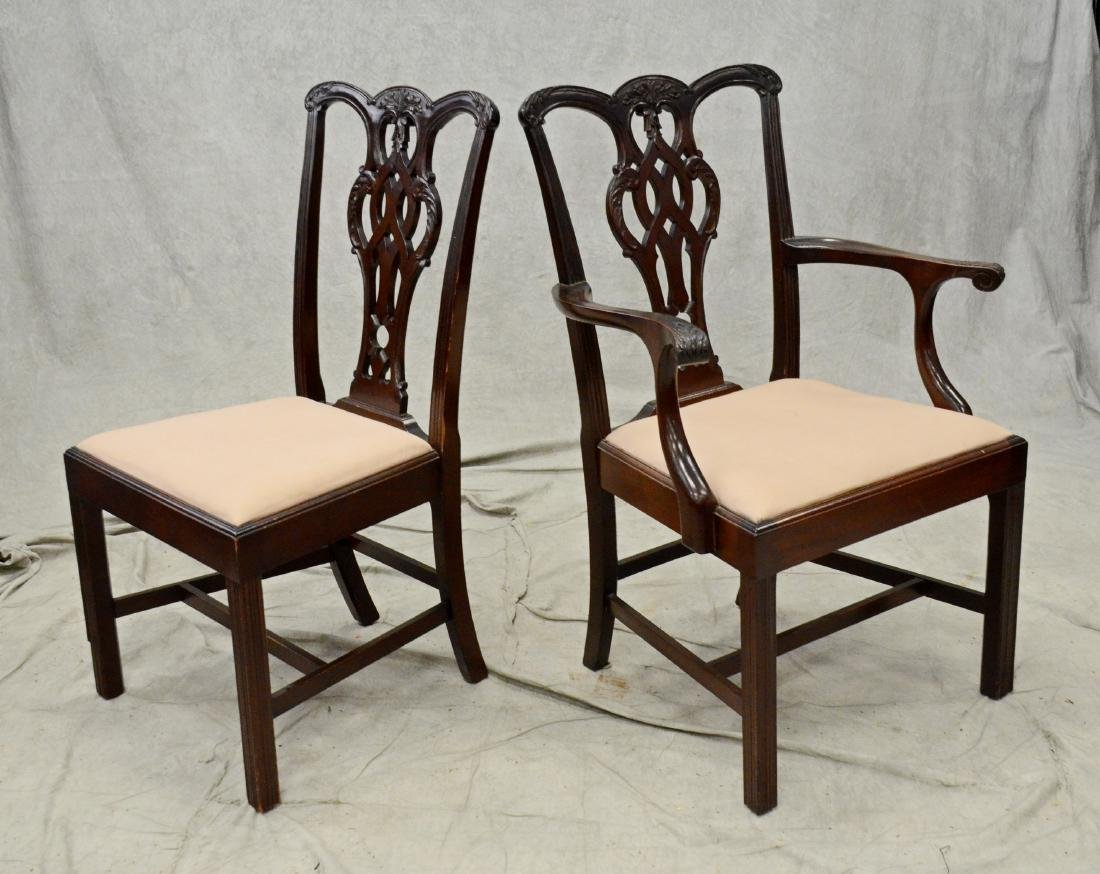8 Chippendale style mahogany dining room chairs - 3