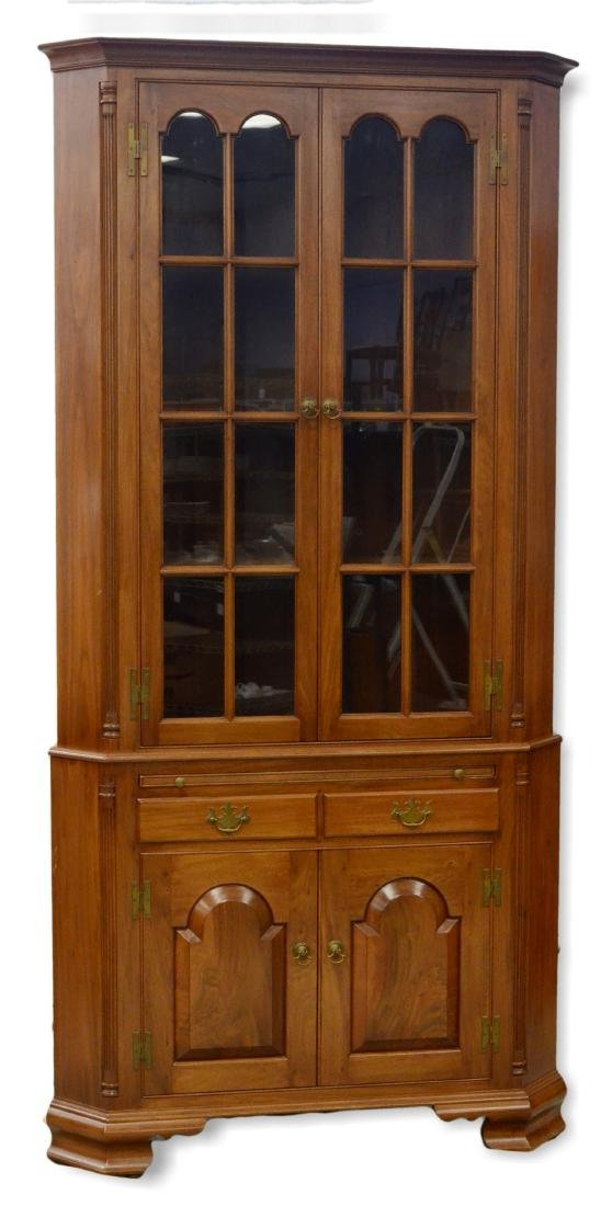 Robert Treate Hogg 2 pc walnut corner cupboard
