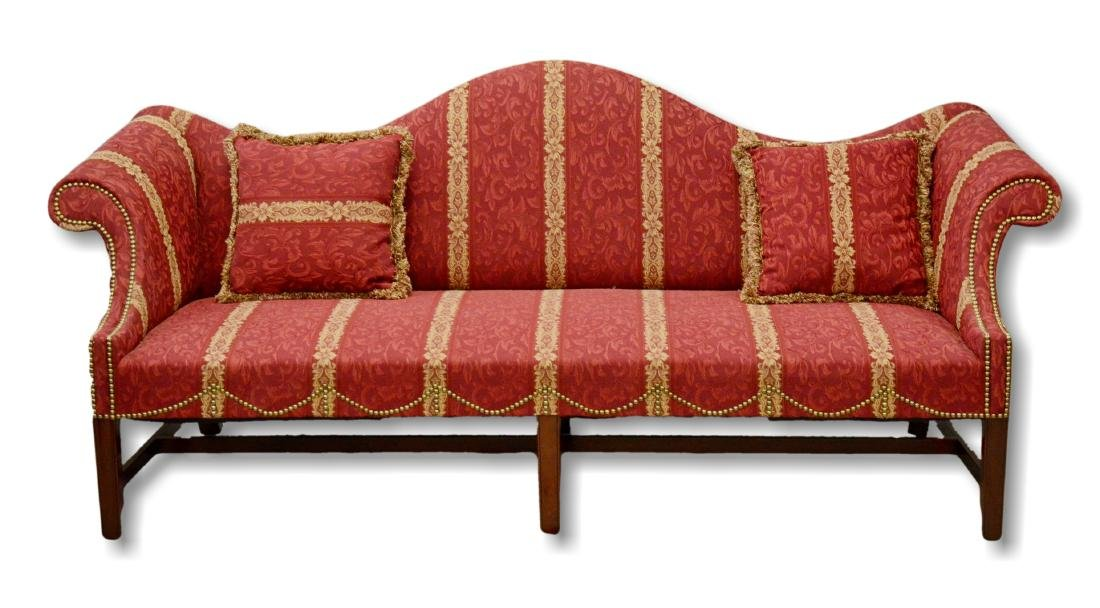 Lombardy Chippendale style 6 legged camelback sofa