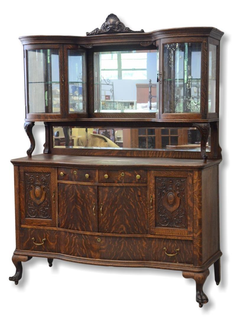 R J Horner style oak sideboard, claw feet