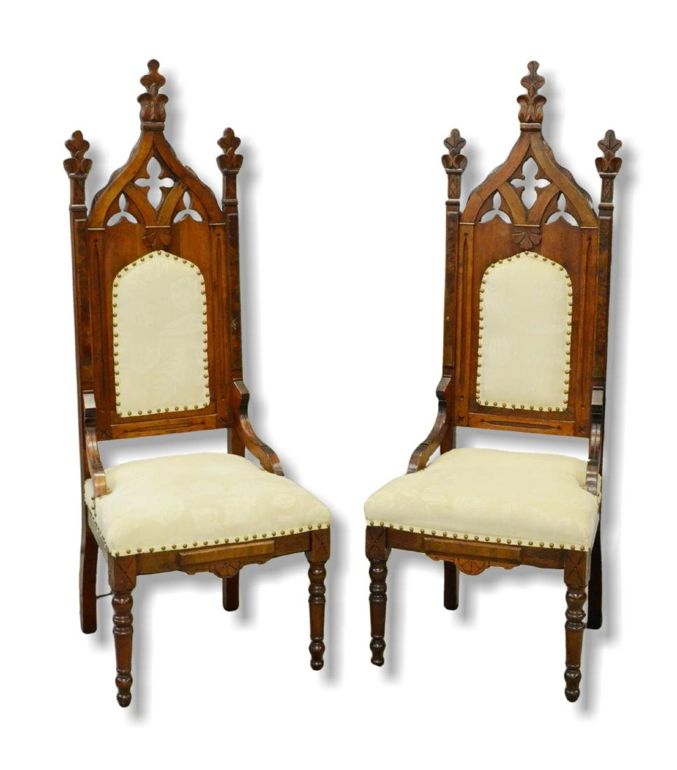 Pair Gothic revival carved throne chairs