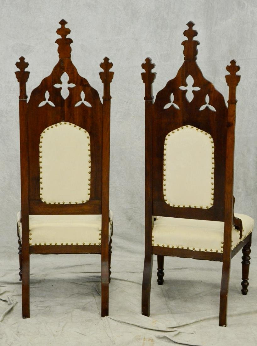 Pair Gothic revival carved throne chairs - 2