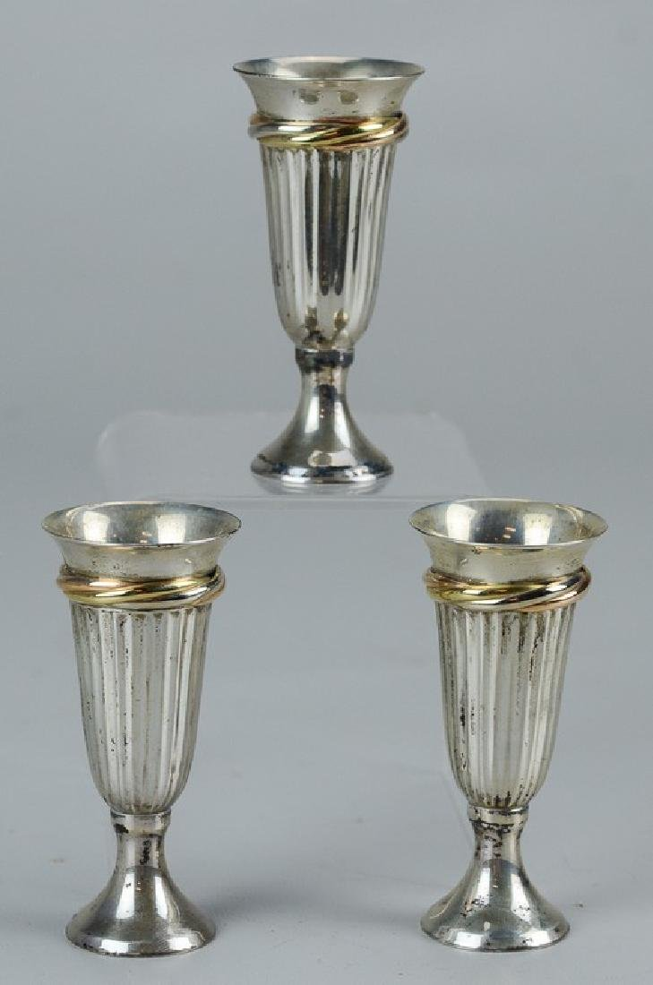 (3) Cartier sterling silver cordial cups