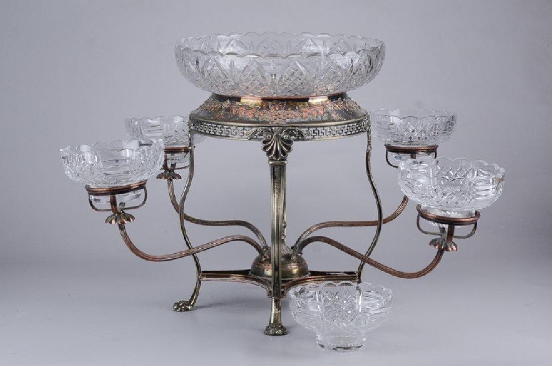Silver on copper epergne with crystal bowls