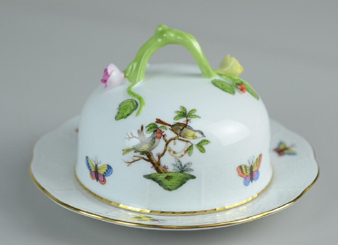Herend Rothschild Bird pattern butter dish