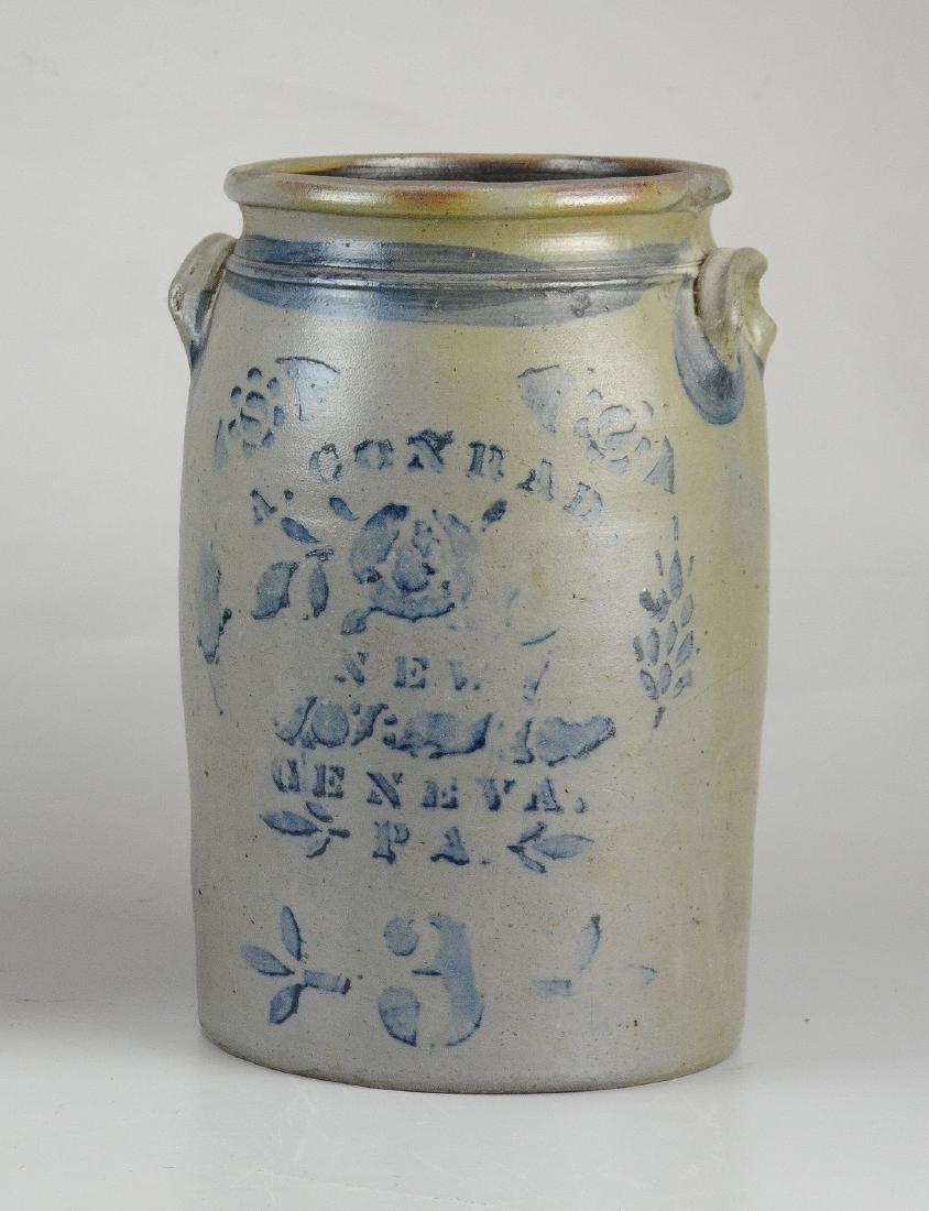 A Conrad blue stenciled 3-gallon stoneware crock