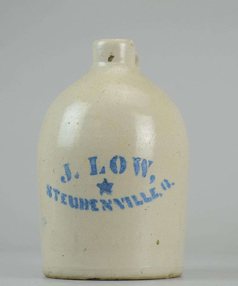 J Low Steubenville blue stenciled stoneware jug