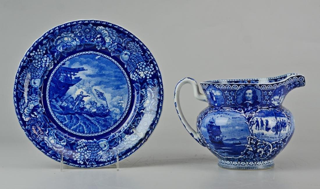 (2) pcs historical blue transfer porcelain