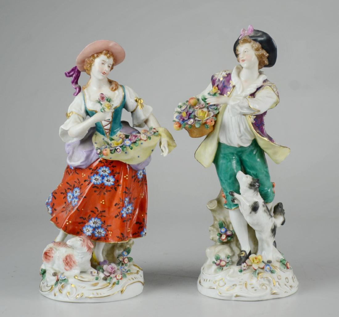 Pr German porcelain figures, man and woman