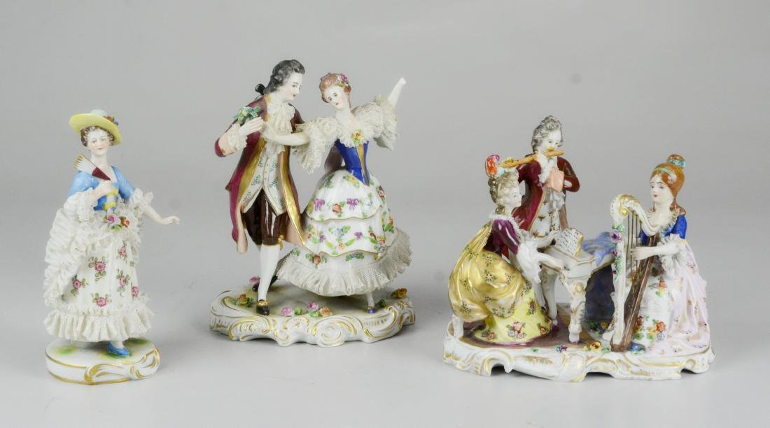 (3) Dresden porcelain figurines with applied lace
