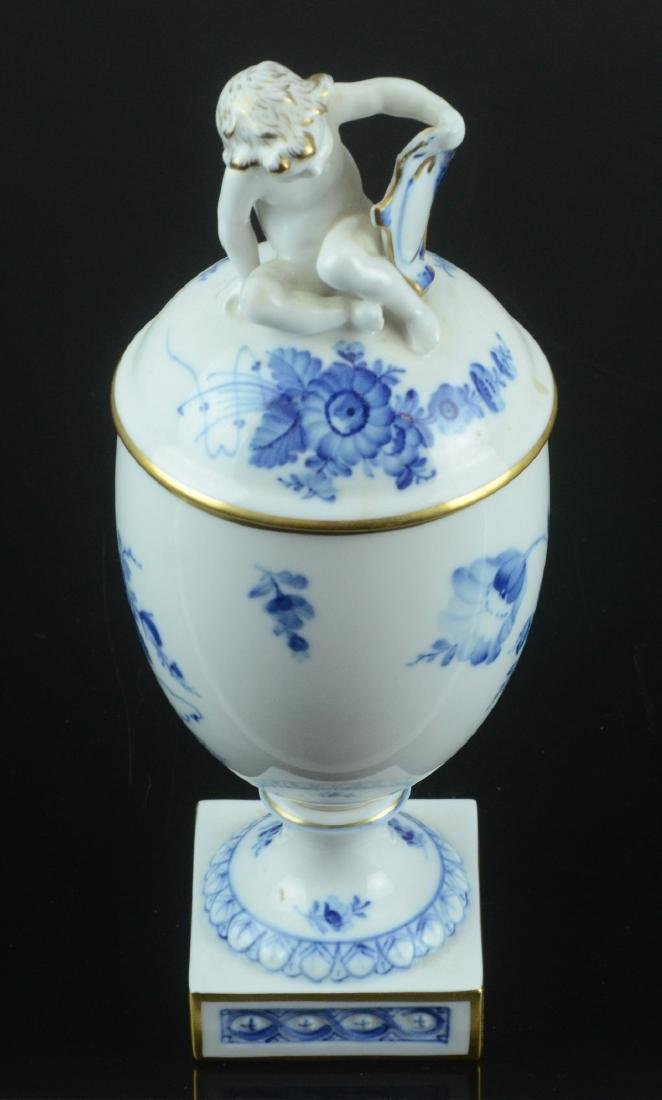 Royal Copenhagen Denmark covered urn with cherub