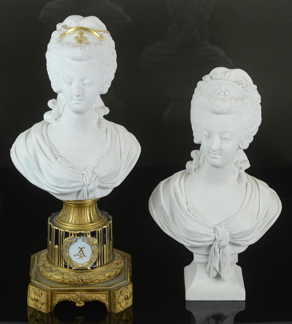 (2) Bisque porcelain busts of Marie Antoinette