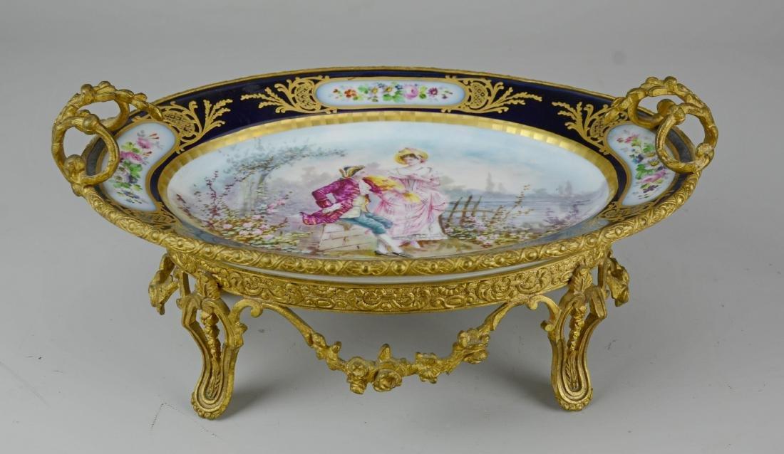 Vincennes-Sevres hand painted gilt metal compote