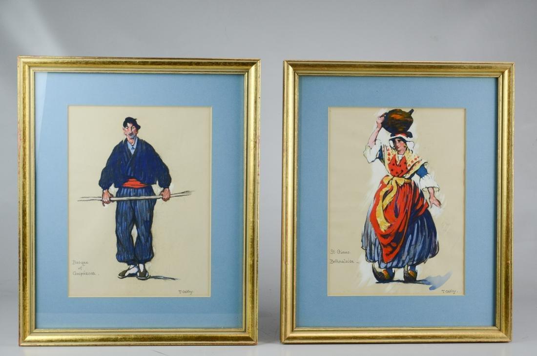 Thornton Oakley, 2 costume sketch paintings
