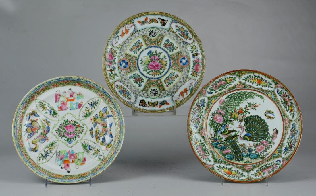 (3) Chinese export plates, Famille Rose