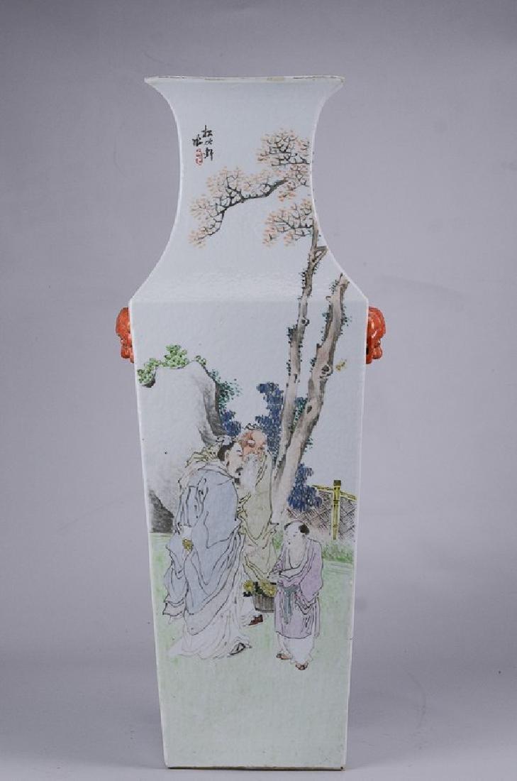 Chinese porcelain vase w/ lion handles Republic Period - 2