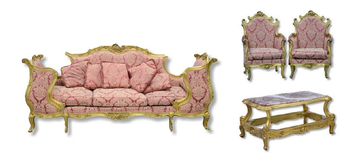 4 pc French style Gilt Salon Set