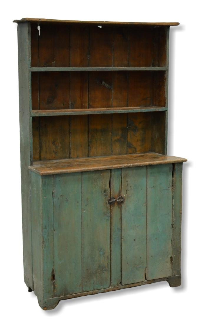 Pine stepback cupboard, old blue painted surface, 19th