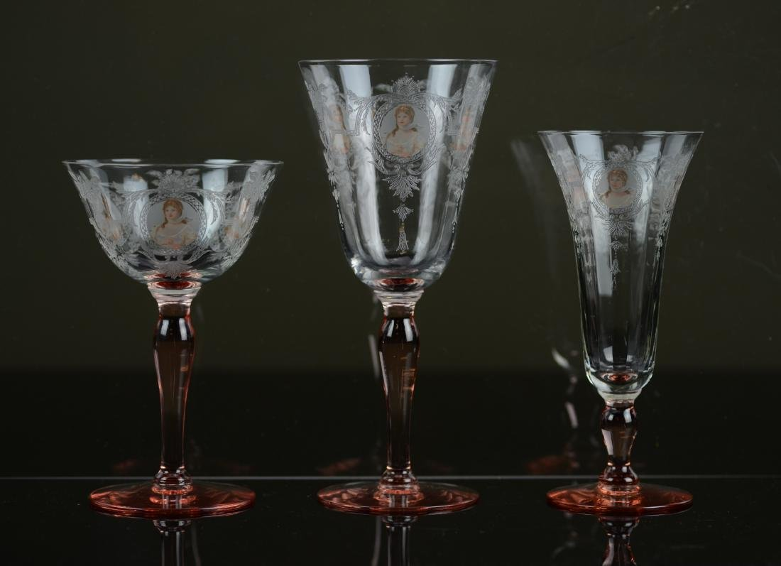 22 pcs Westmoreland Pink Queen Louise stemware - 7