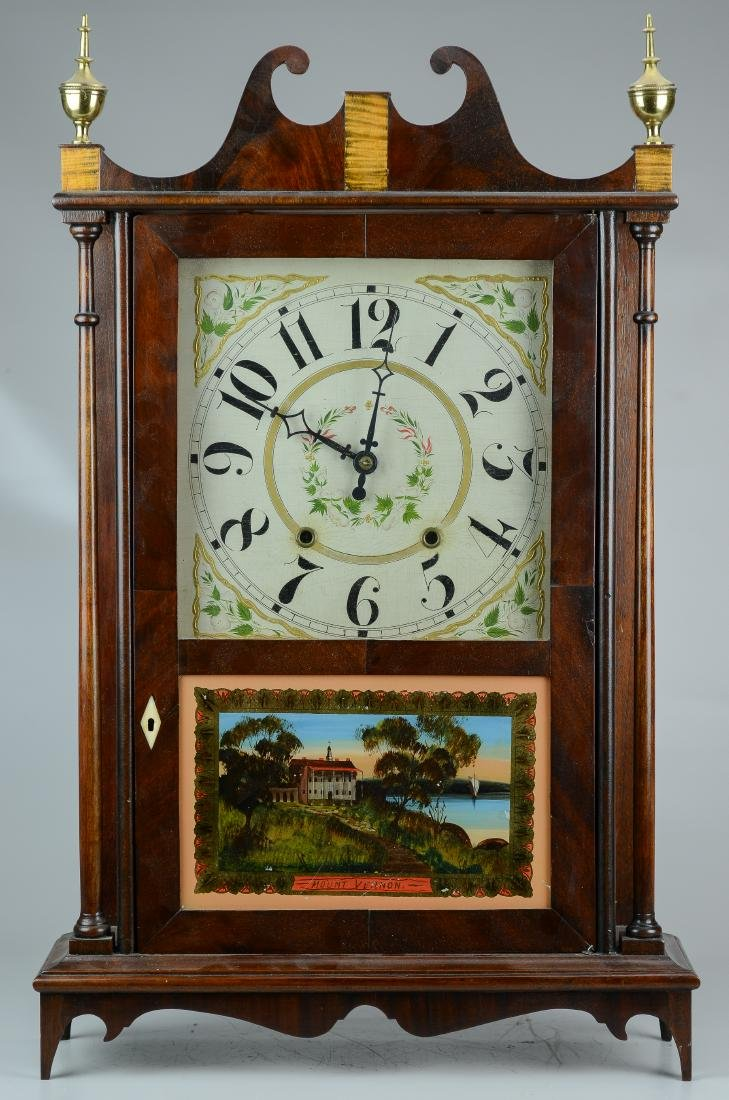 Mahogany Double Weight Driven Pillar and Scroll Clock