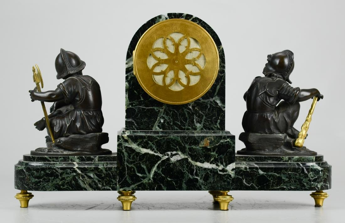 French Marble and Bronze Mantel Clock