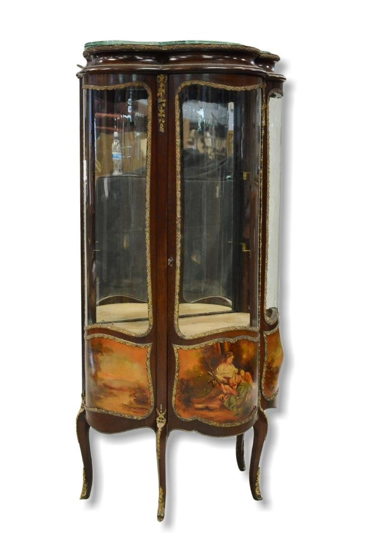 Louis XV style bowed glass display cabinet