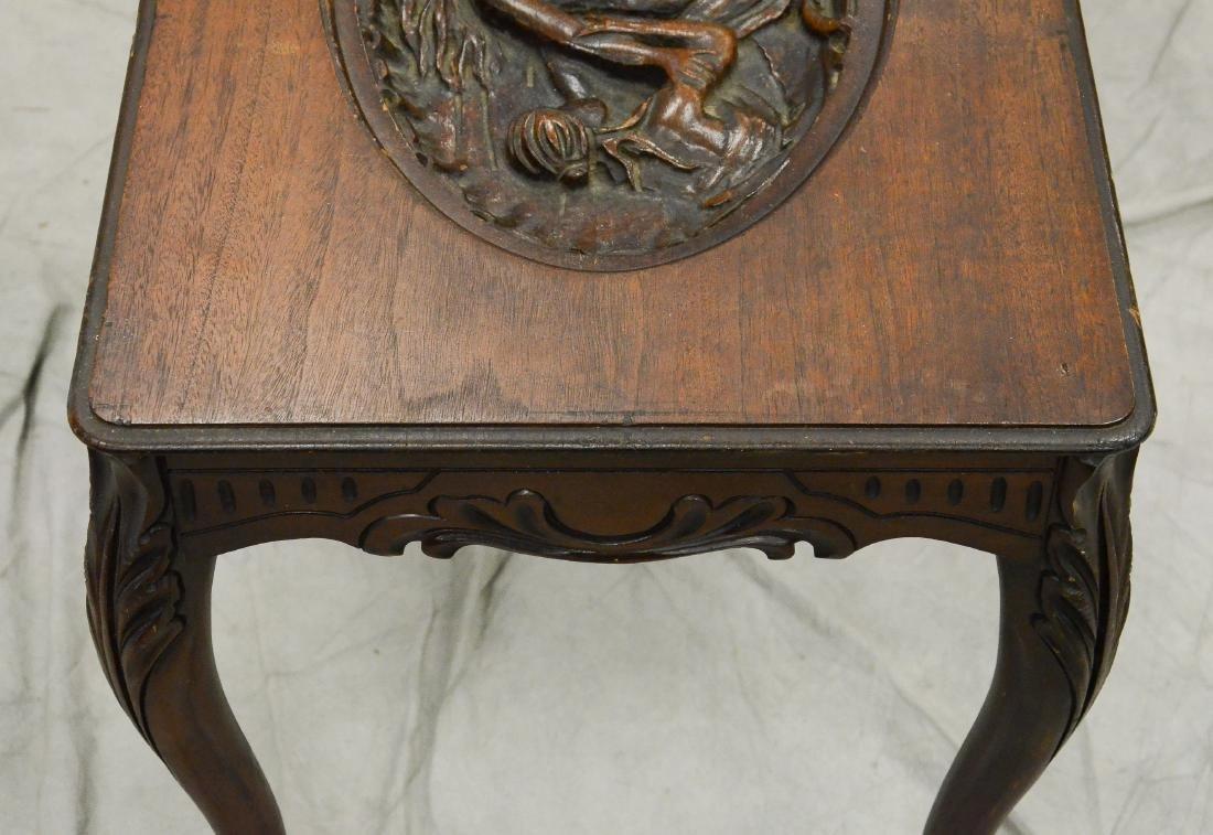 Carved oak rocker, back with Nordic ship - 3