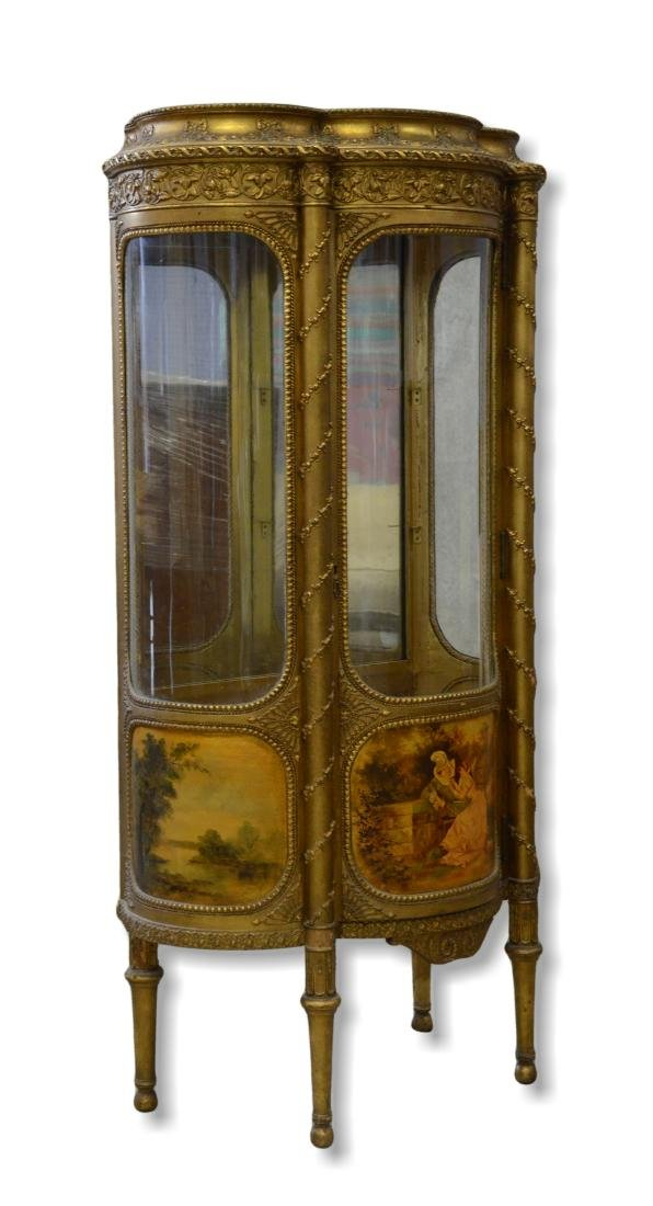 French style gilt carved bowfront cabinet
