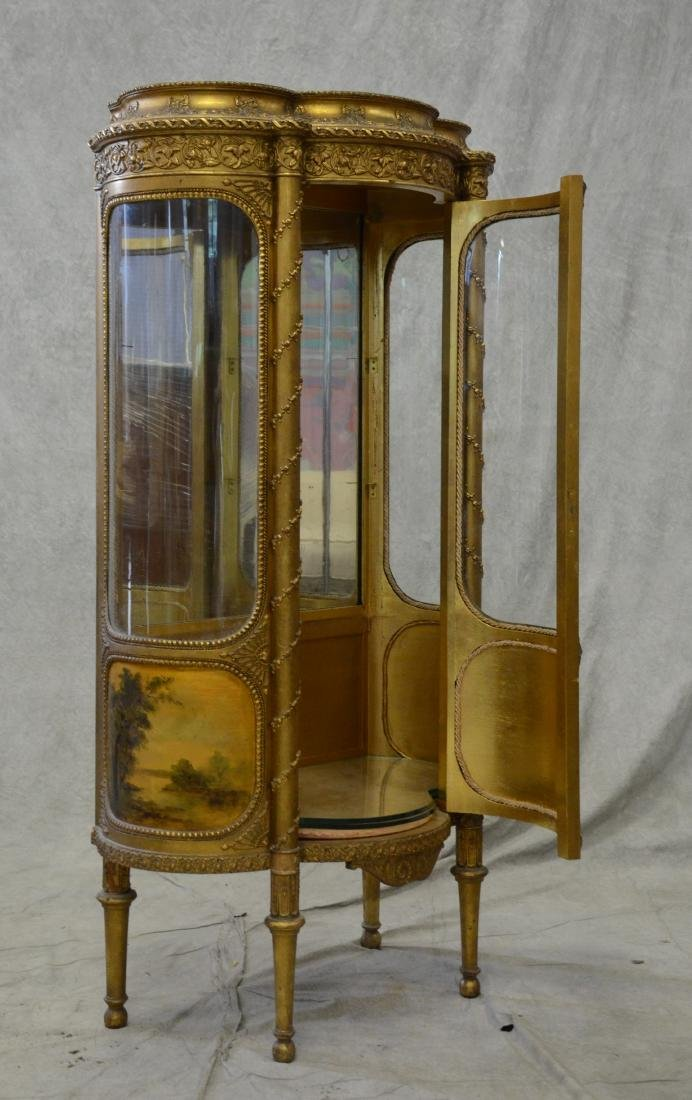 French style gilt carved bowfront cabinet - 4