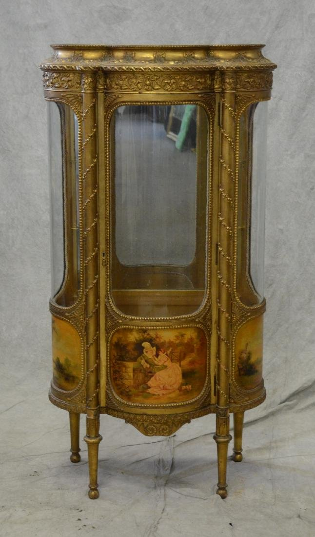 French style gilt carved bowfront cabinet - 6