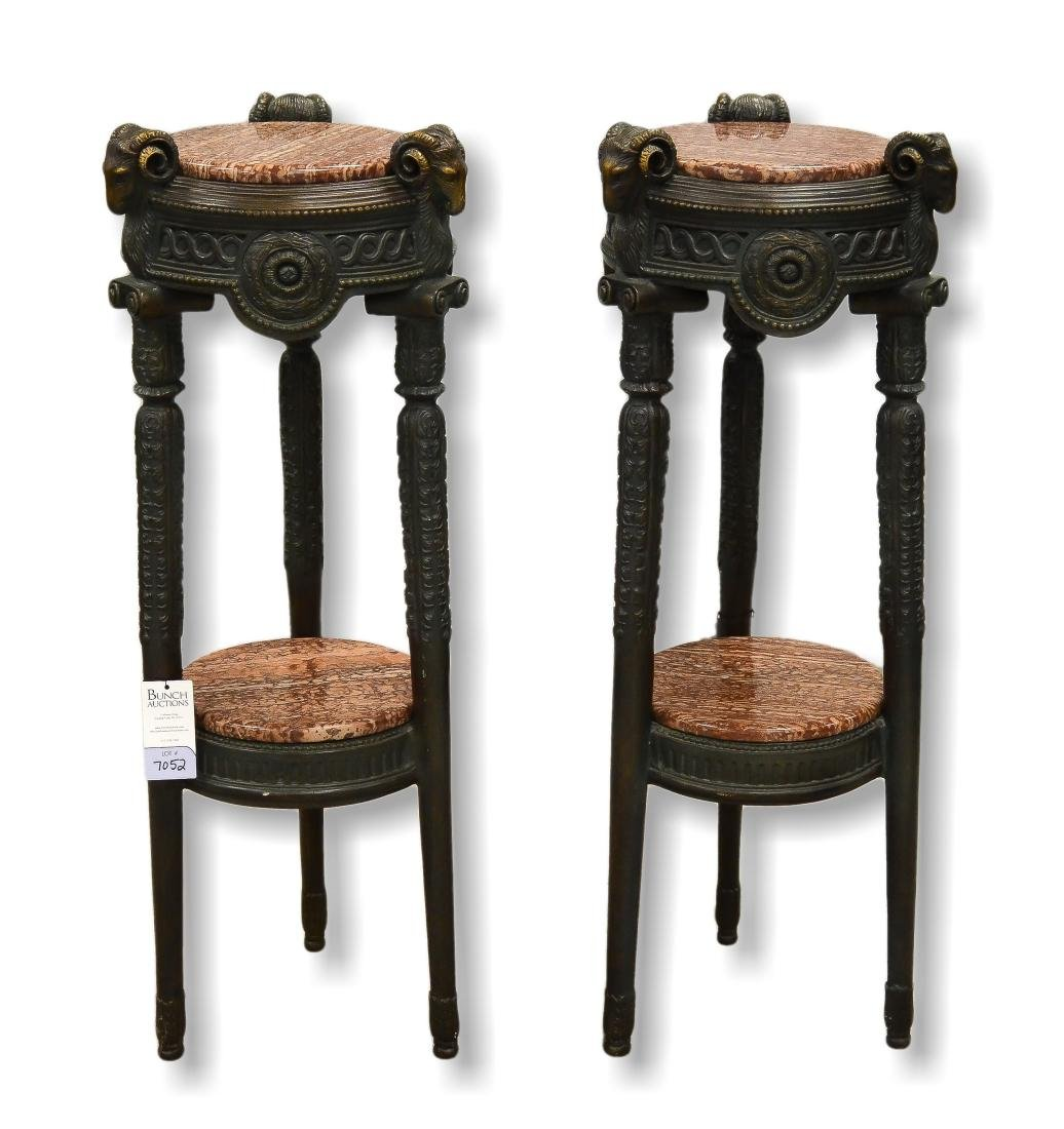 Pr French Empire Style Marble top Stands
