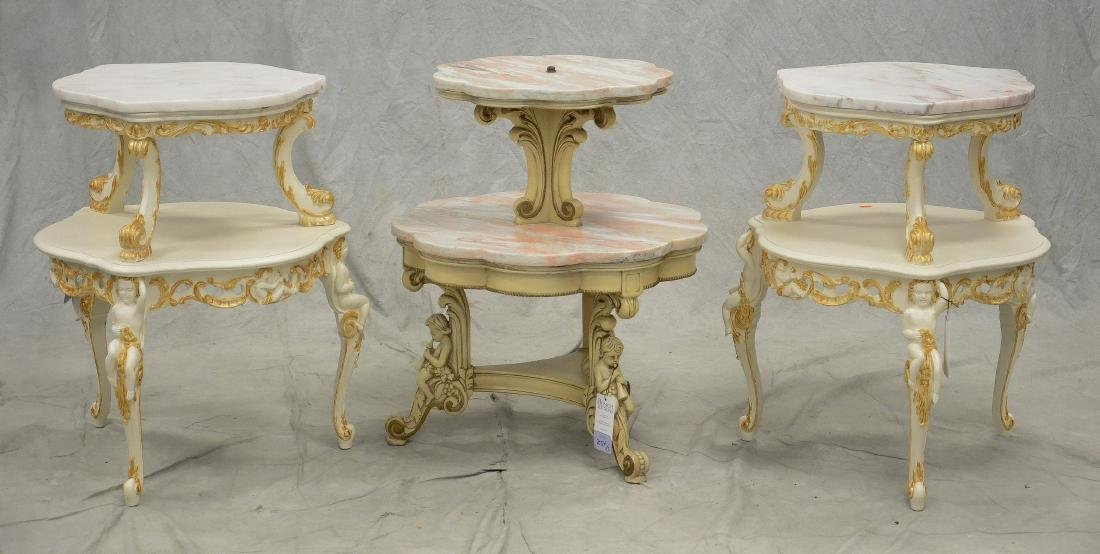 3 Figural Putti Carved Marble top Tables