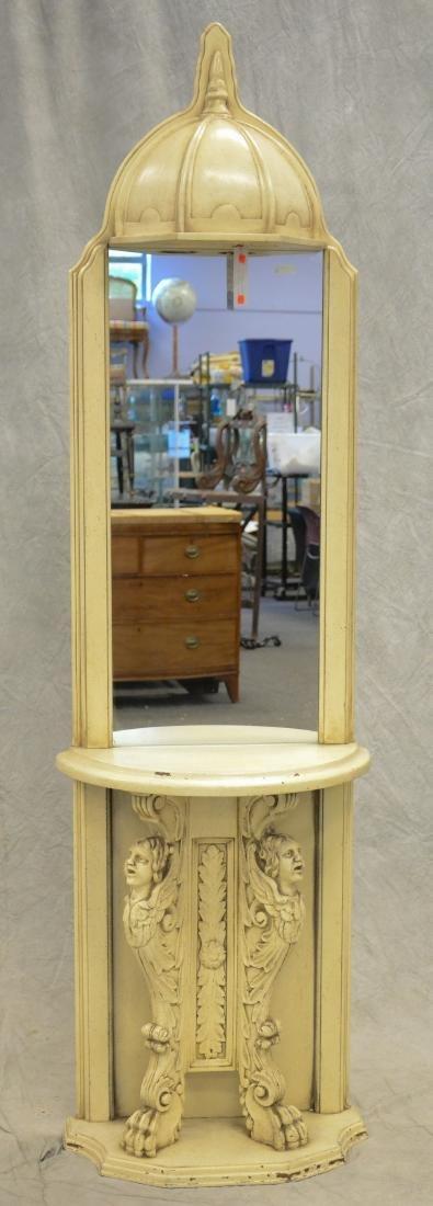 Italian Renaissance Revival ivory painted pier mirror
