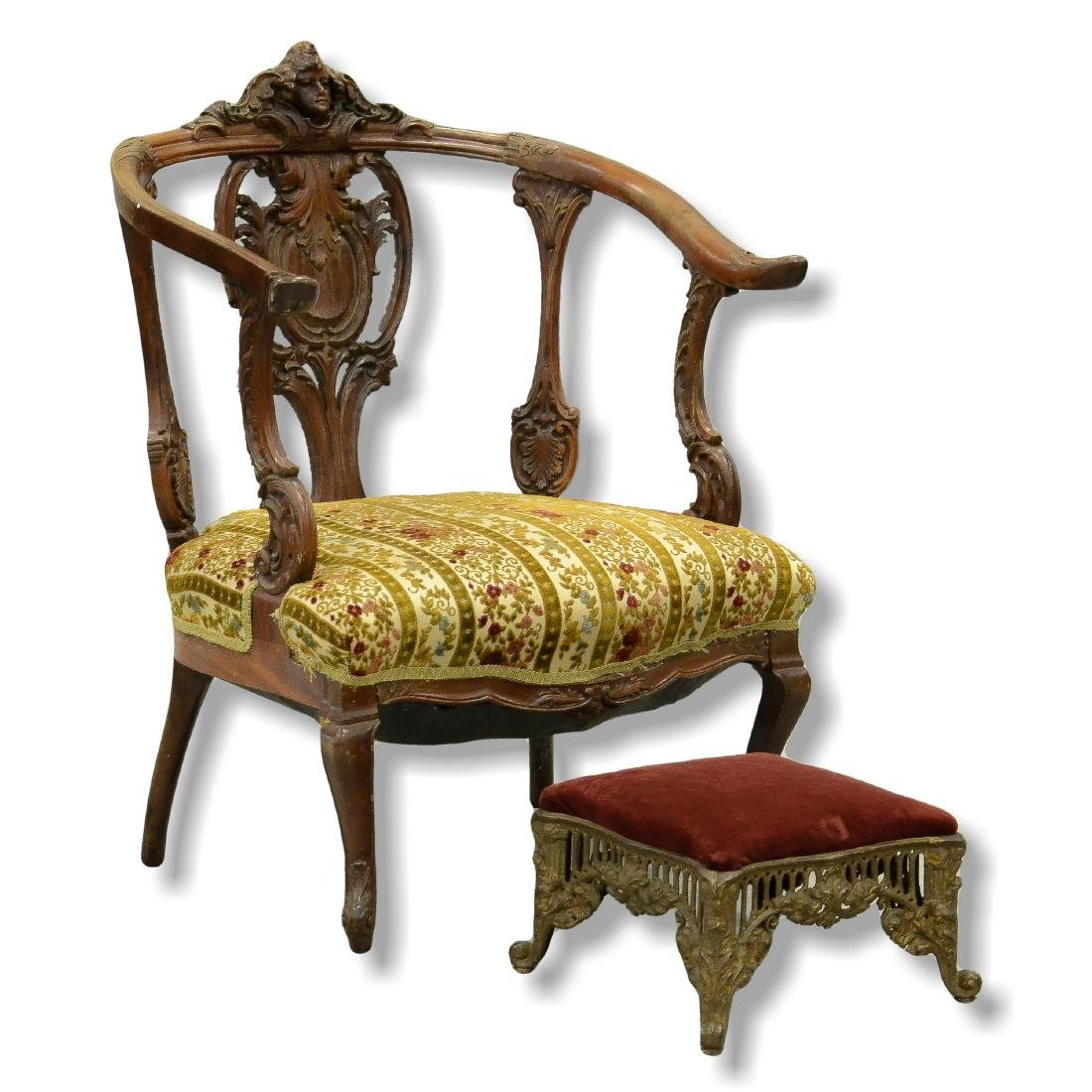 Venetian Fantasy Figural Carved Armchair w/ footstool