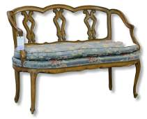 Walnut Louis XV style carved bench